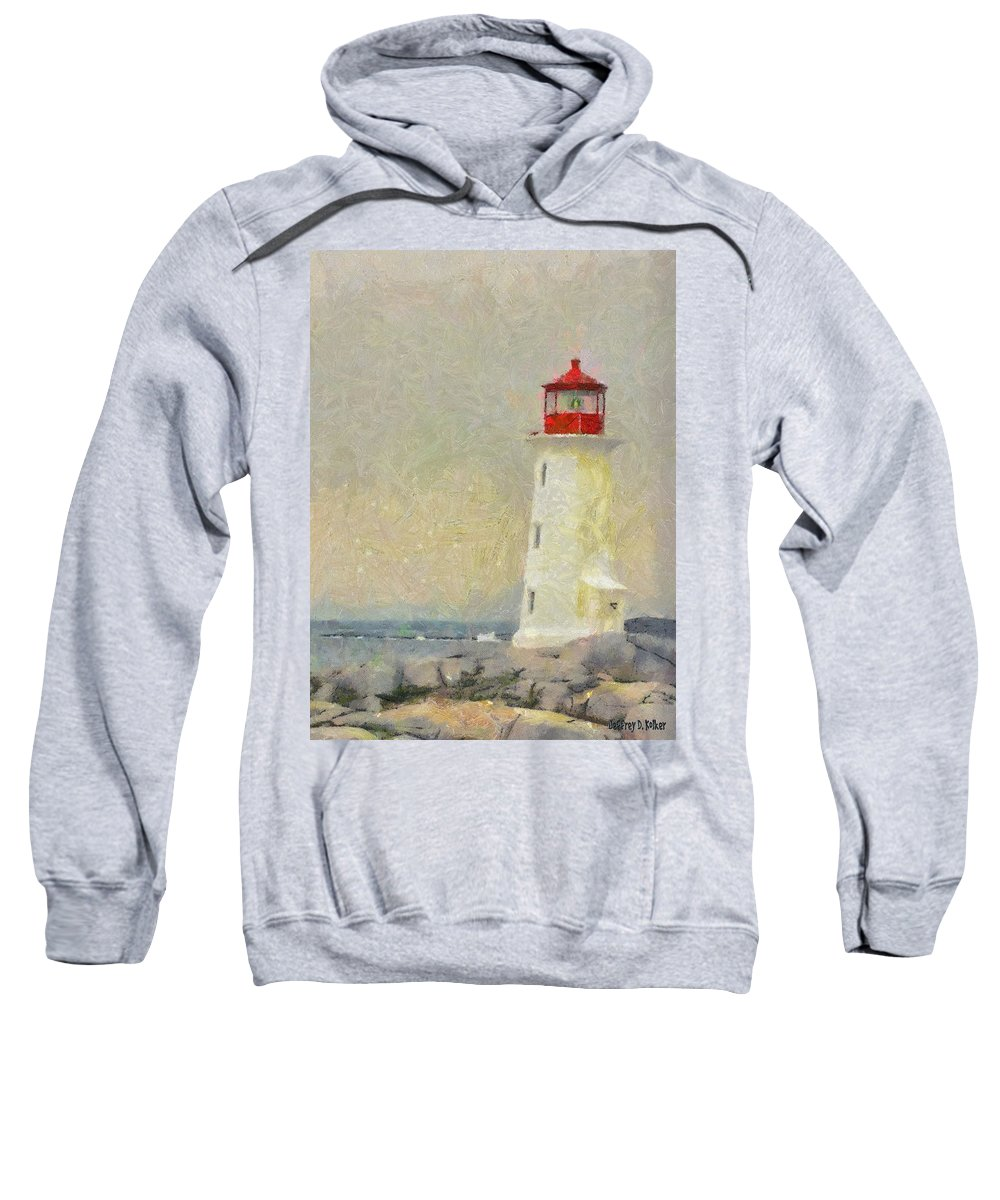Canadian Sweatshirt featuring the painting Lighthouse by Jeffrey Kolker