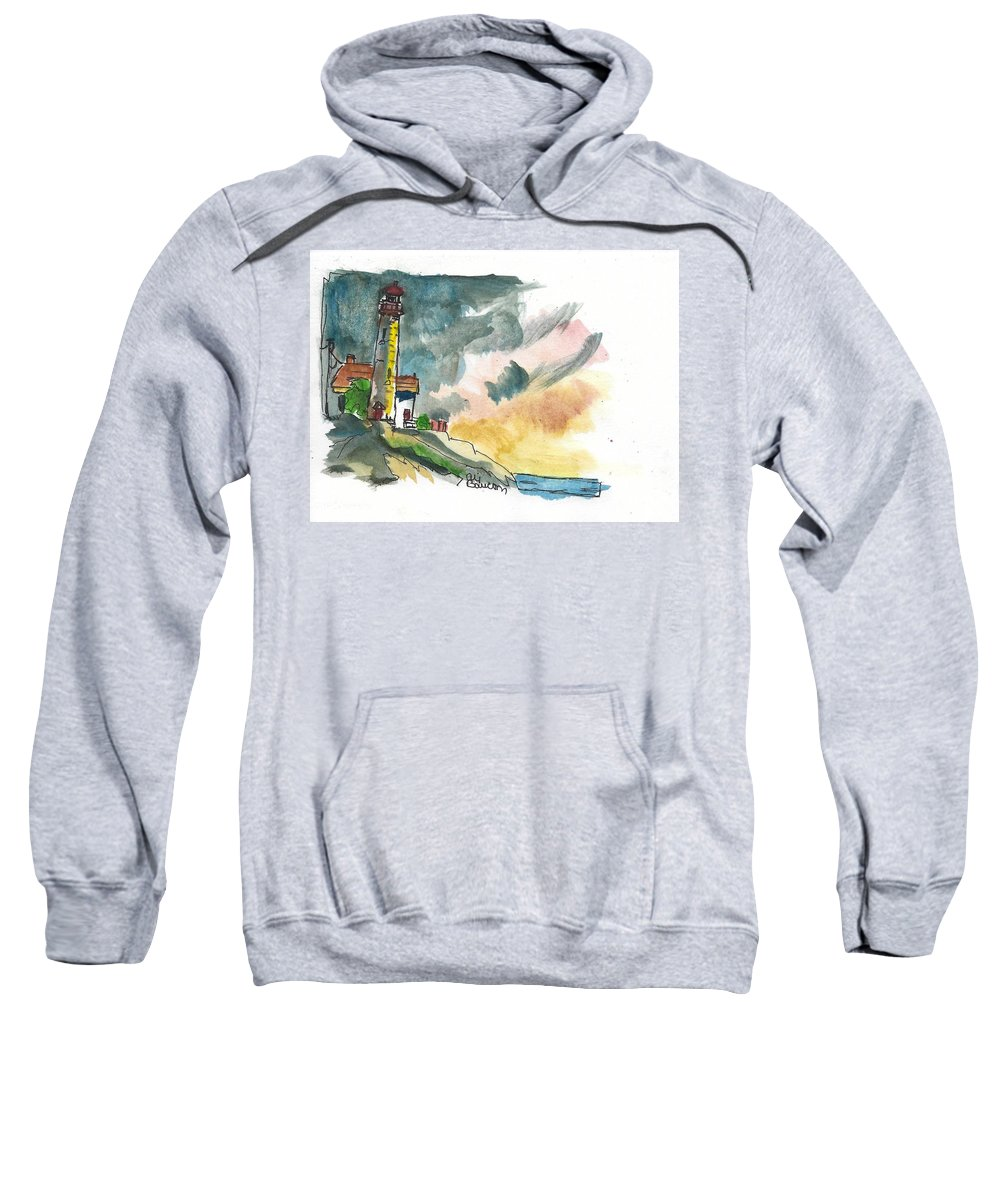 Lighthouse Sweatshirt featuring the painting Lighthouse On The Hill by Ali Baucom