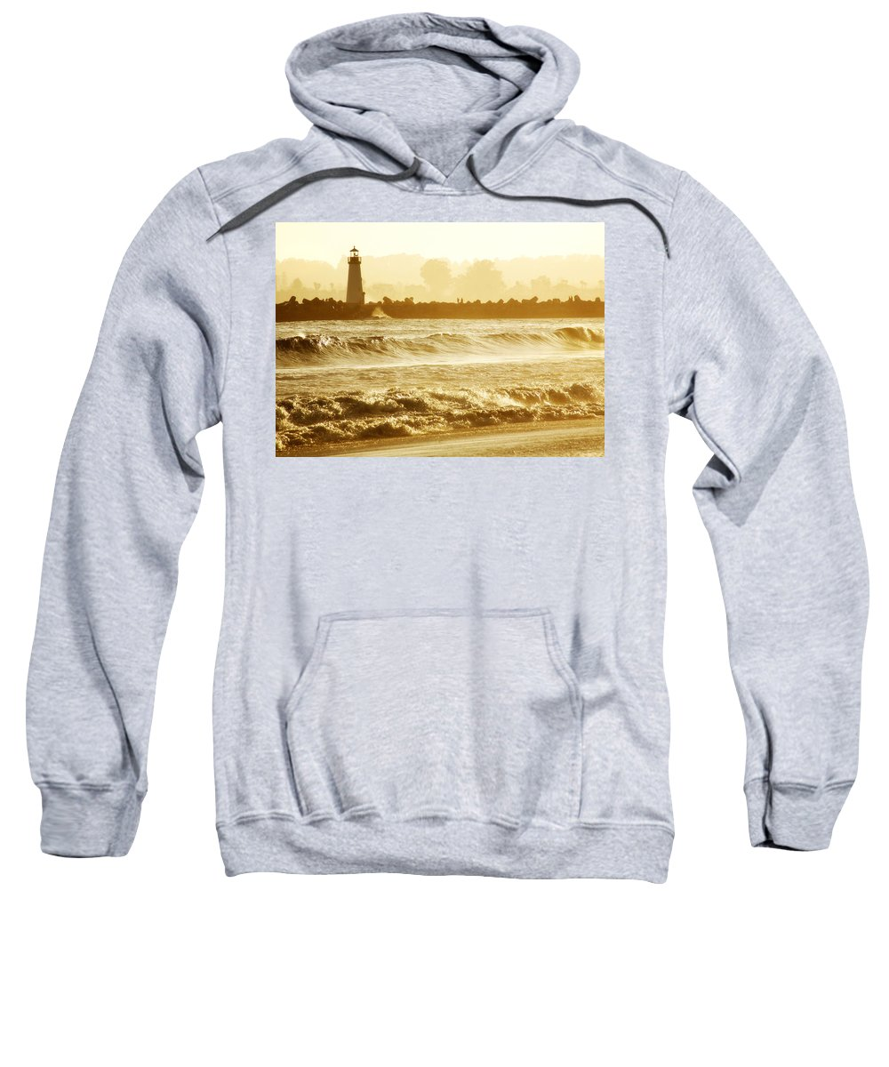 Lighthouse Sweatshirt featuring the photograph Lighthouse Sunset by Marilyn Hunt