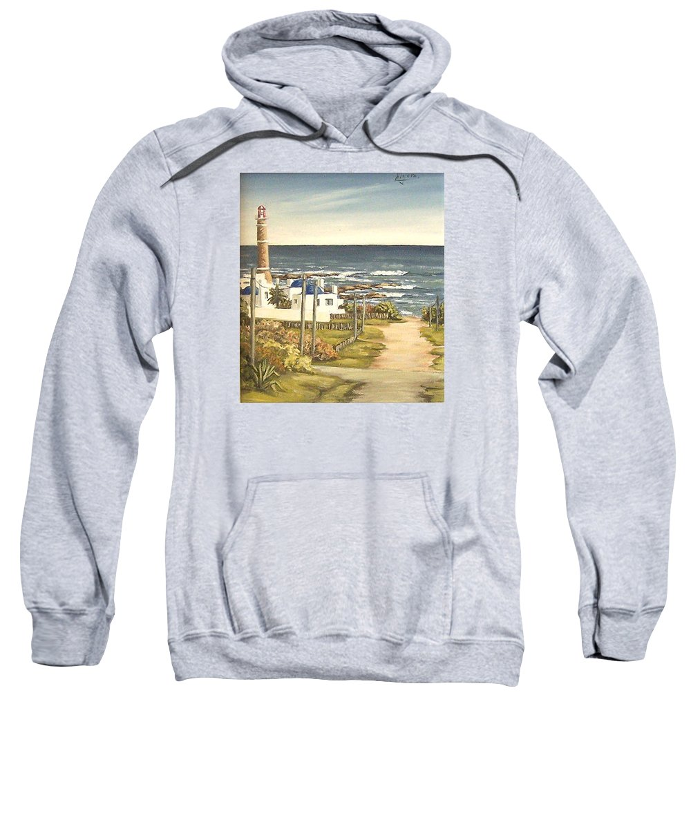 Lighthouse Seascape Sea Water Uruguay Sweatshirt featuring the painting Lighthouse Uruguay by Natalia Tejera