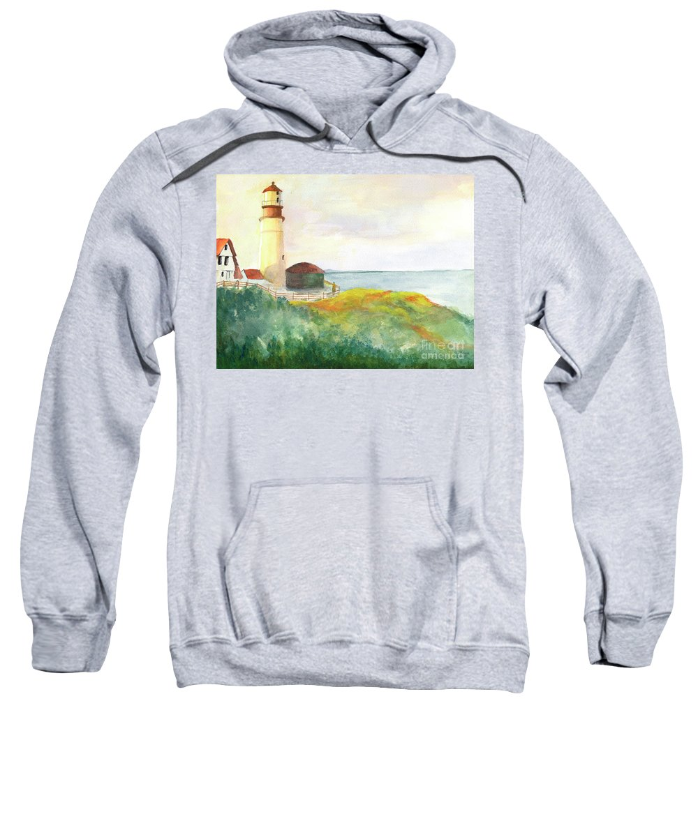 Landscape Sweatshirt featuring the painting Lighthouse-watercolor by Marlene Book