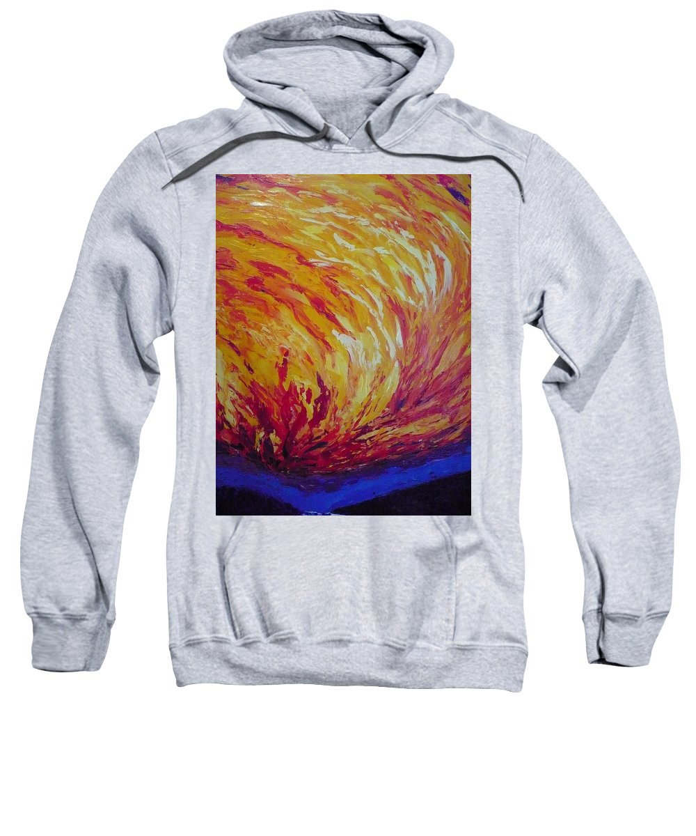 Fire Sweatshirt featuring the painting Lighting A Match by Ericka Herazo