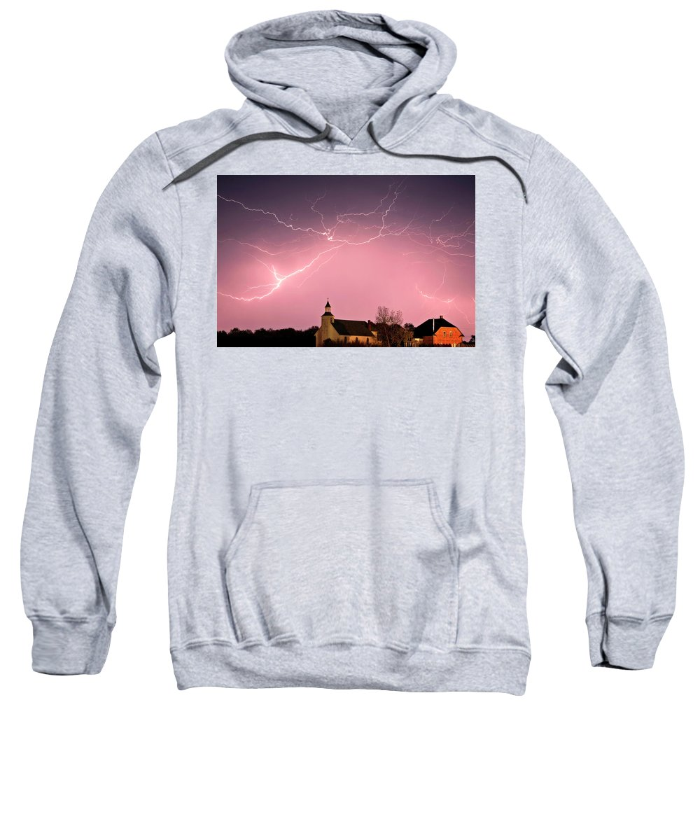 Old Sweatshirt featuring the digital art Lightning Bolts Over Spring Valley Country Church by Mark Duffy