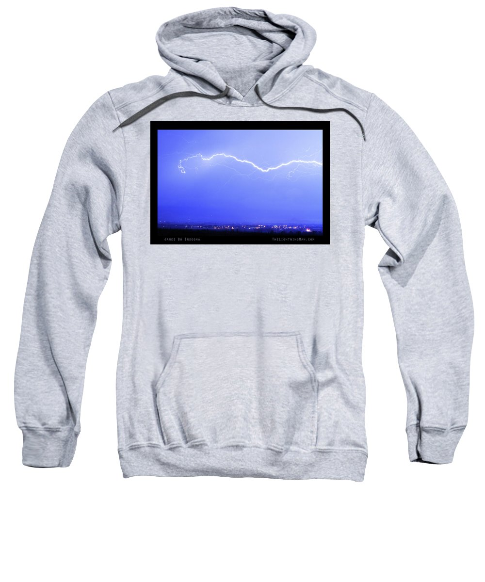 Lightning Sweatshirt featuring the photograph Lightning Over North Boulder Colorado Poster Lm by James BO Insogna