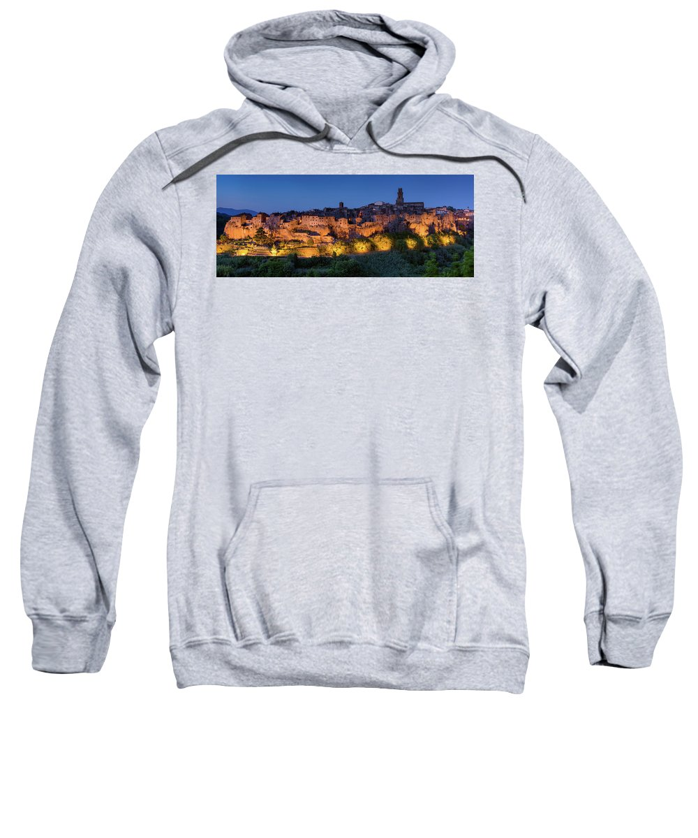 Etrustan Sweatshirt featuring the photograph Lights On Pitigliano by Michael Blanchette