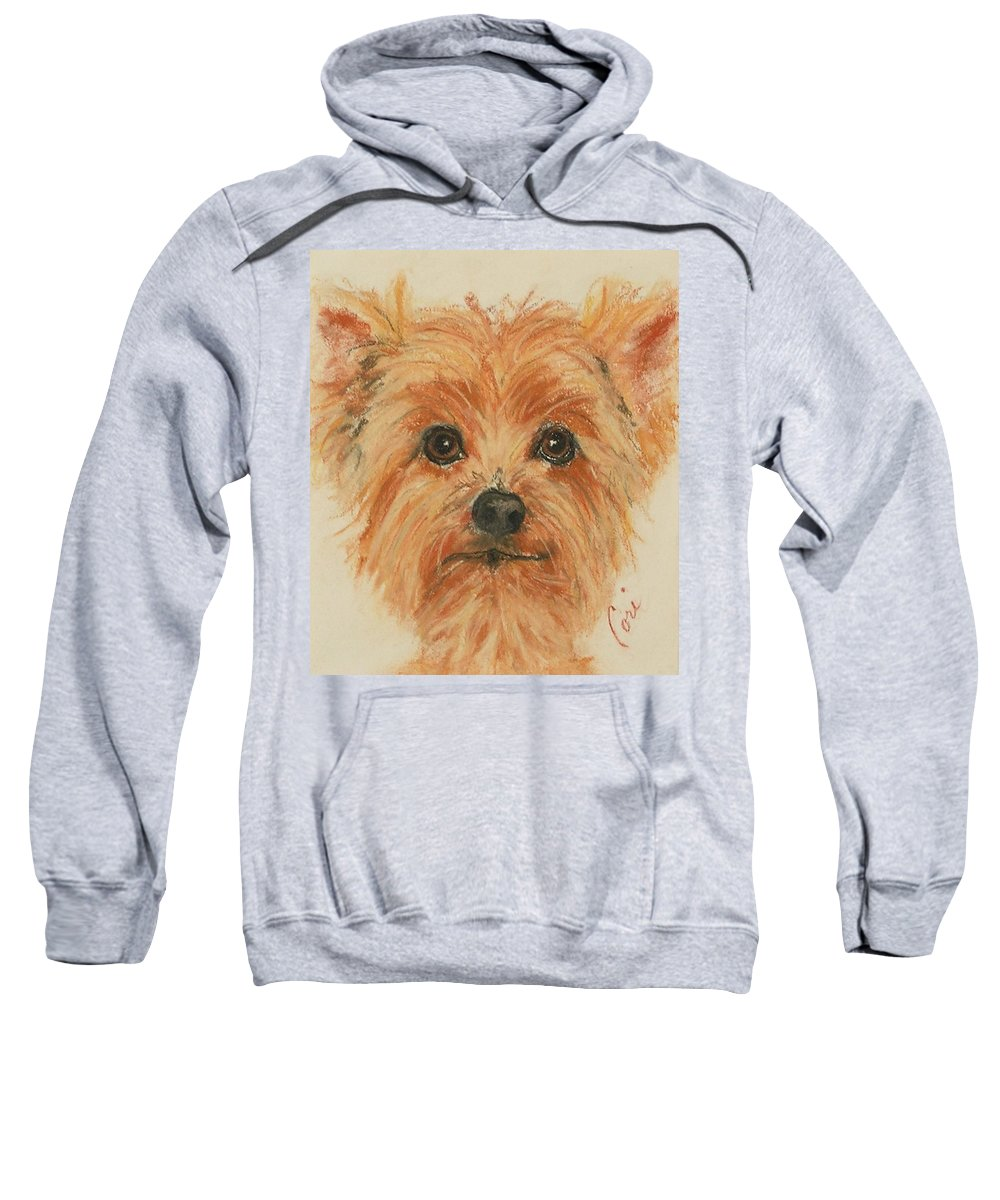Pastel Sweatshirt featuring the drawing Lil Rascal by Cori Solomon