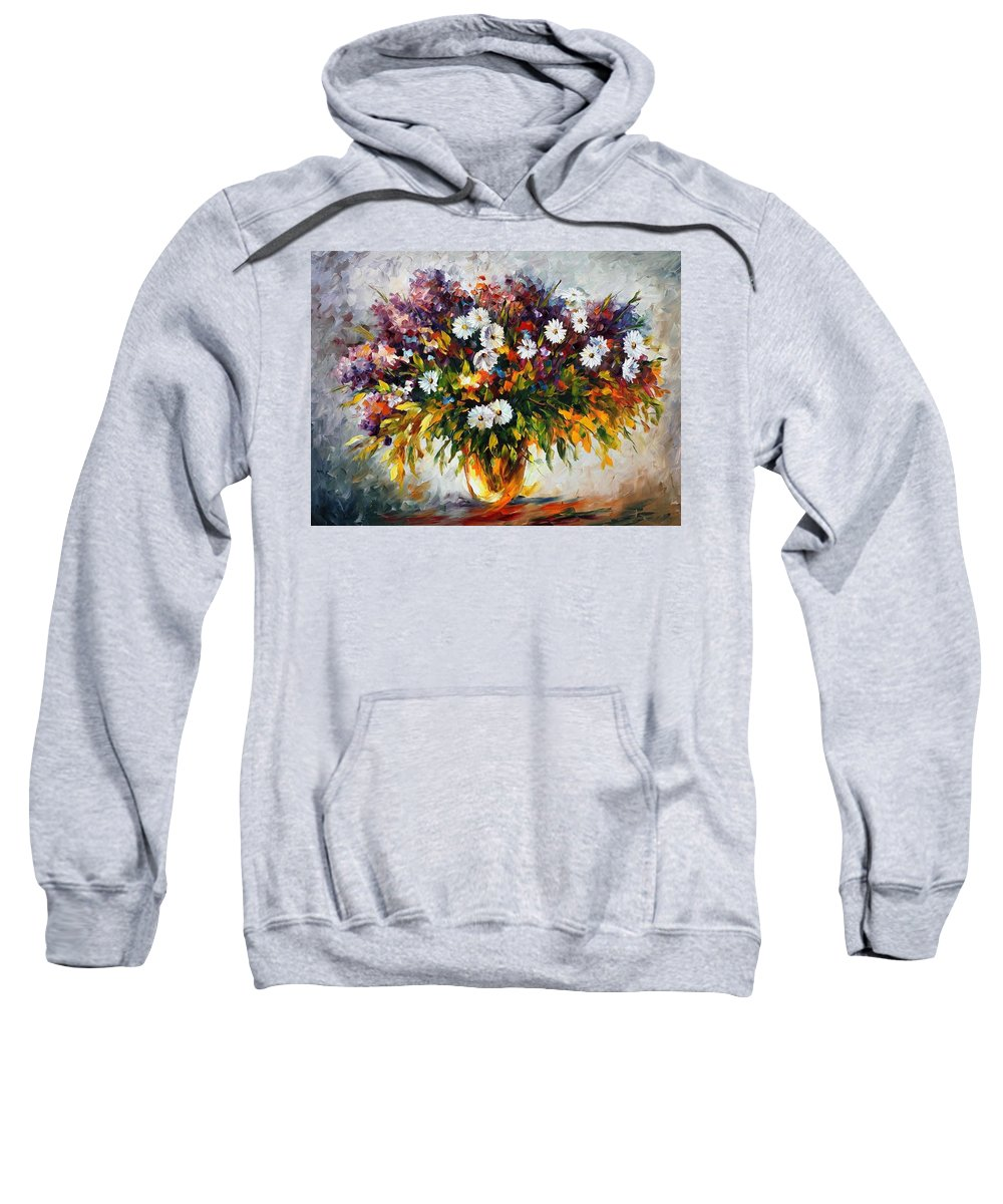 Afremov Sweatshirt featuring the painting Lilac And Camomiles by Leonid Afremov