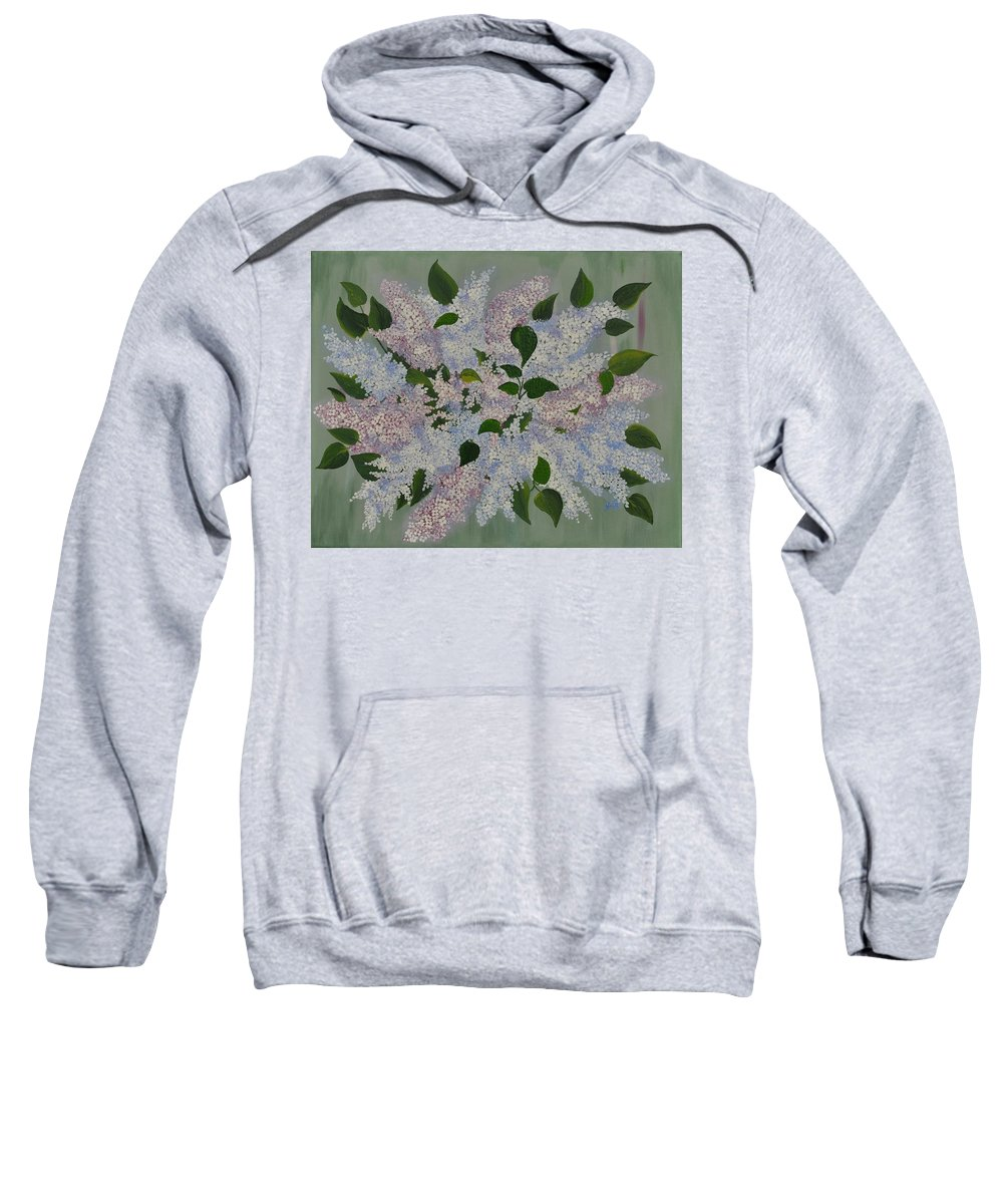 Lilac Sweatshirt featuring the painting Lilac Flowers Expressing Harmony by Georgeta Blanaru