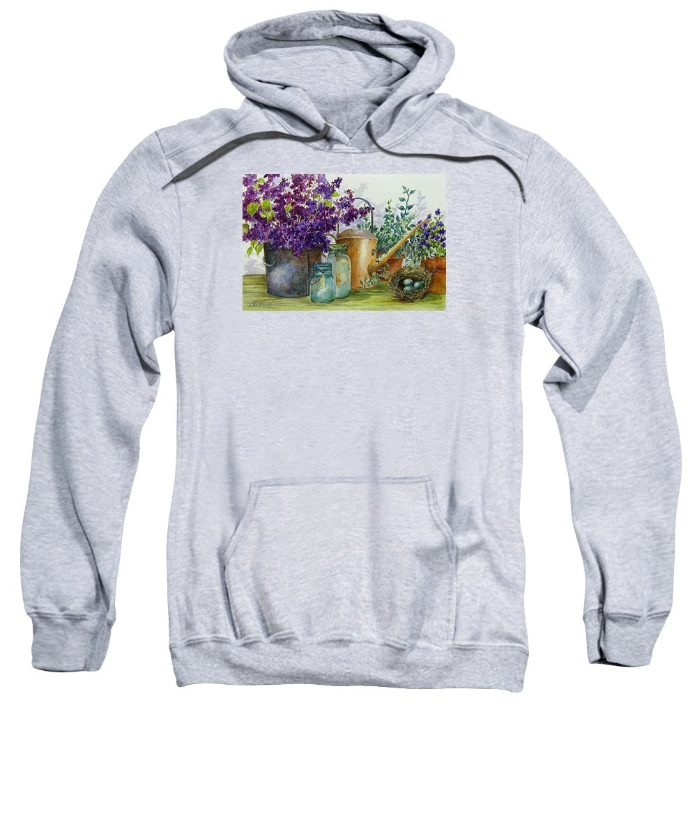 Still Life;lilacs; Ball Jars; Watering Can;bird Nest; Bird Eggs; Sweatshirt featuring the painting Lilacs And Ball Jars by Lois Mountz