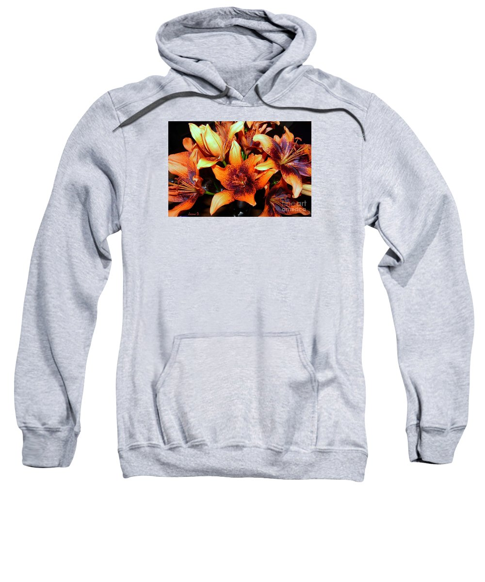 Still Life Sweatshirt featuring the photograph Lilies In The Shadow by Jasna Dragun