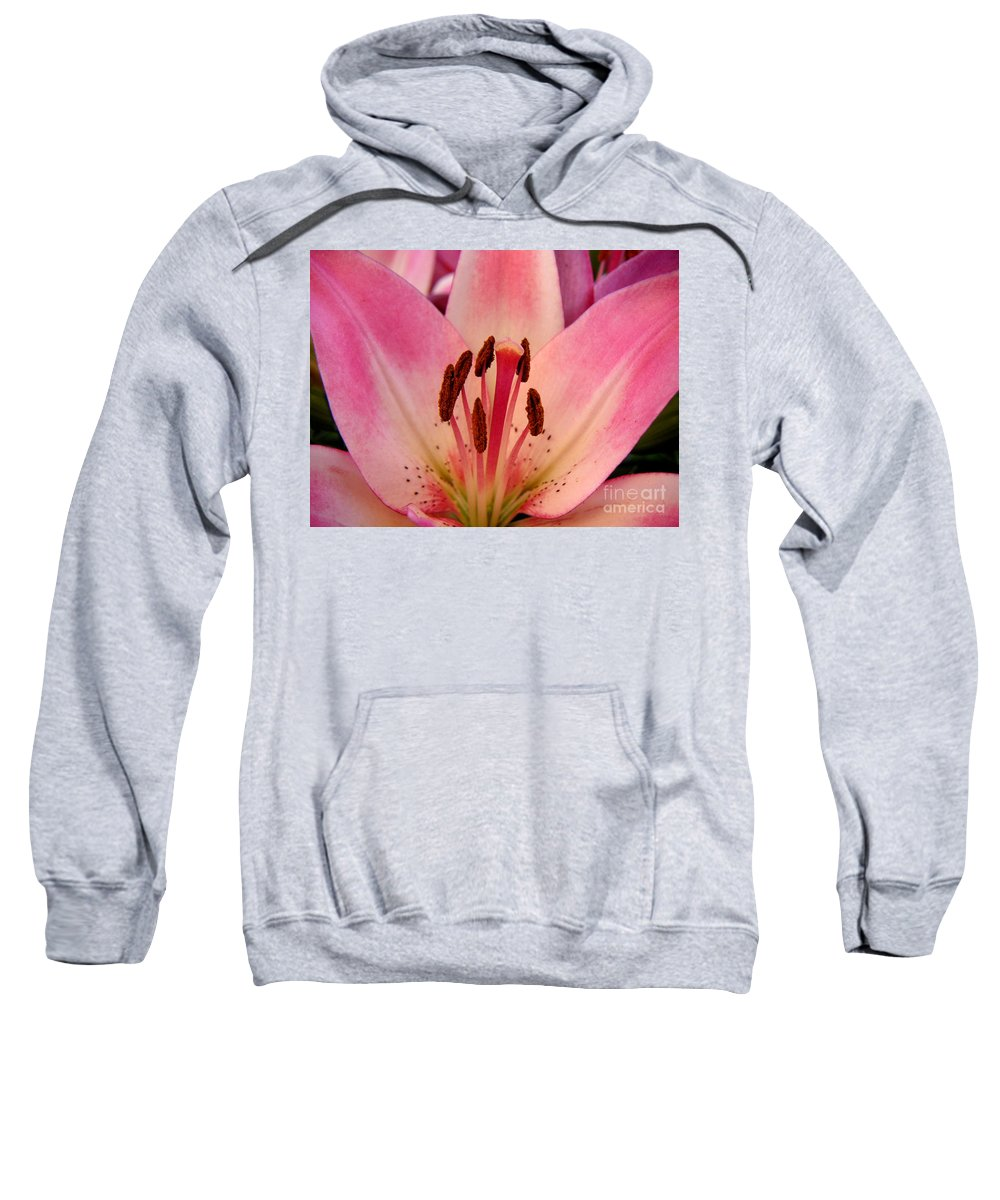 Nature Sweatshirt featuring the photograph Lily - An Intimate View by Lucyna A M Green