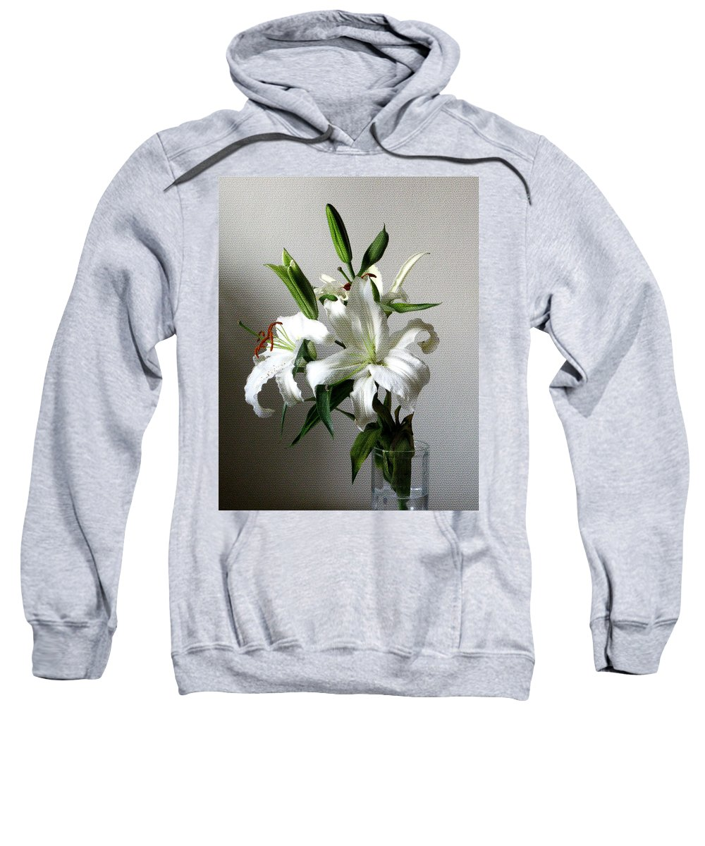 White Flower Sweatshirt featuring the digital art Lily Flower by Christopher Shellhammer
