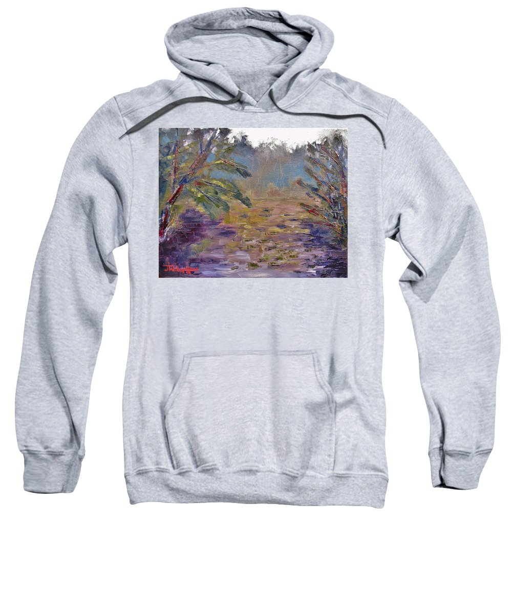 Oil Sweatshirt featuring the painting Lily Pads On A Pond, Overcast Sky 3pm by Jason Williamson