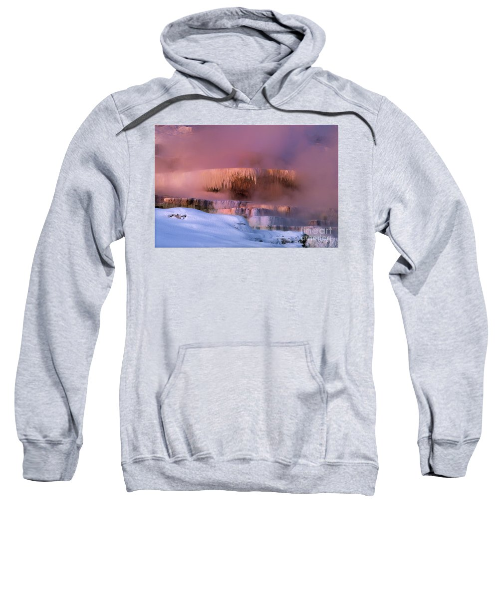 North America Sweatshirt featuring the photograph Limestone Artwork Minerva Springs Yellowstone National Park by Dave Welling