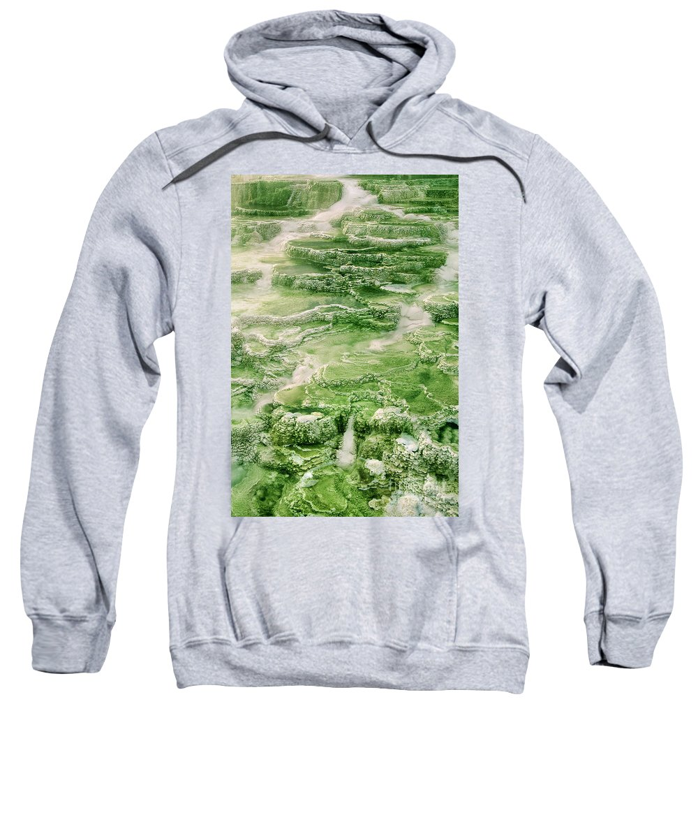 North America Sweatshirt featuring the photograph Limestone Detail Minerva Springs Yellowstone National Park by Dave Welling