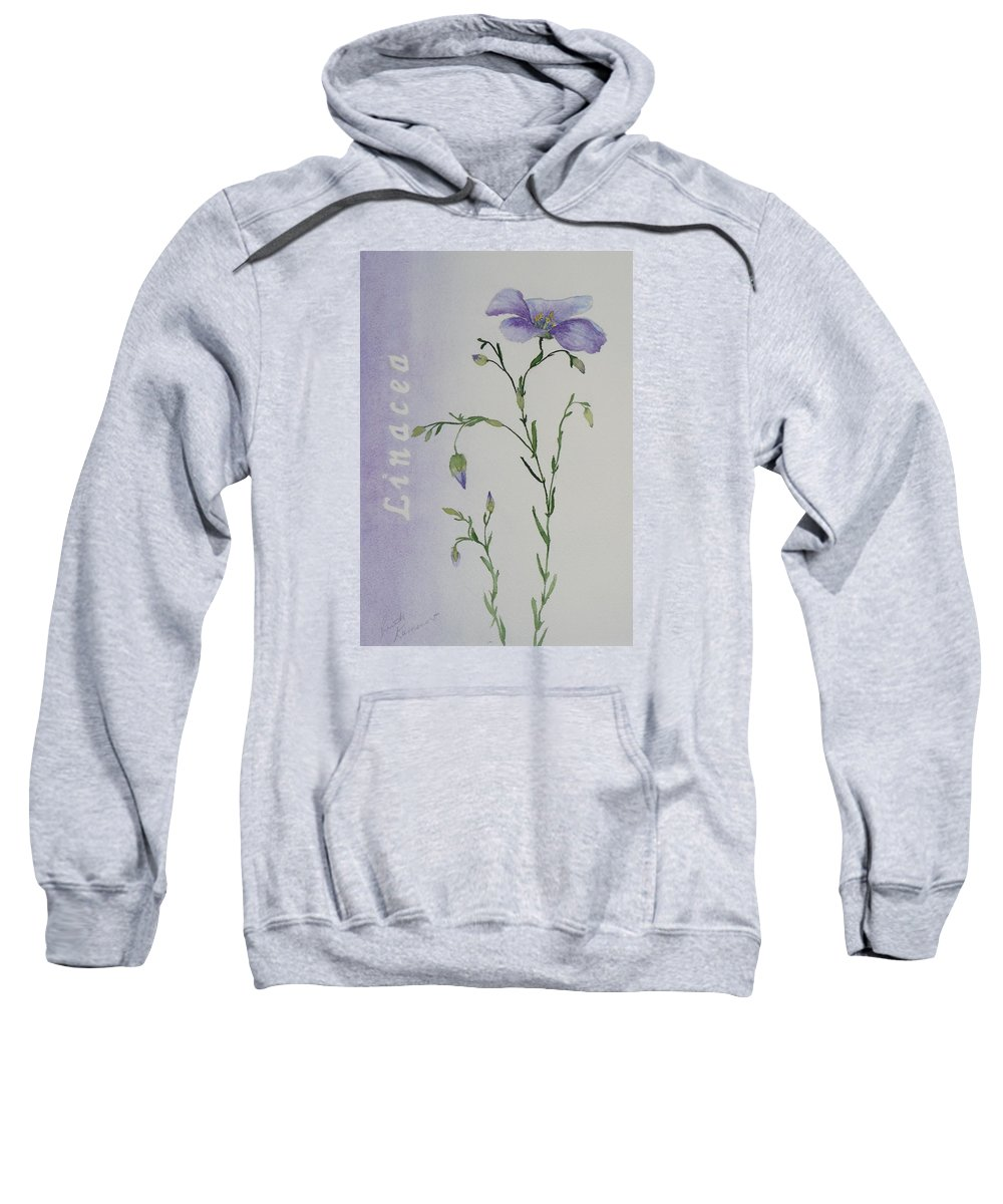 Flower Sweatshirt featuring the painting Linacea by Ruth Kamenev