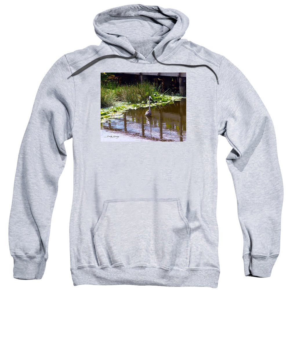 Great Blue Heron Sweatshirt featuring the pyrography Lines And Reflection by Sally Sperry