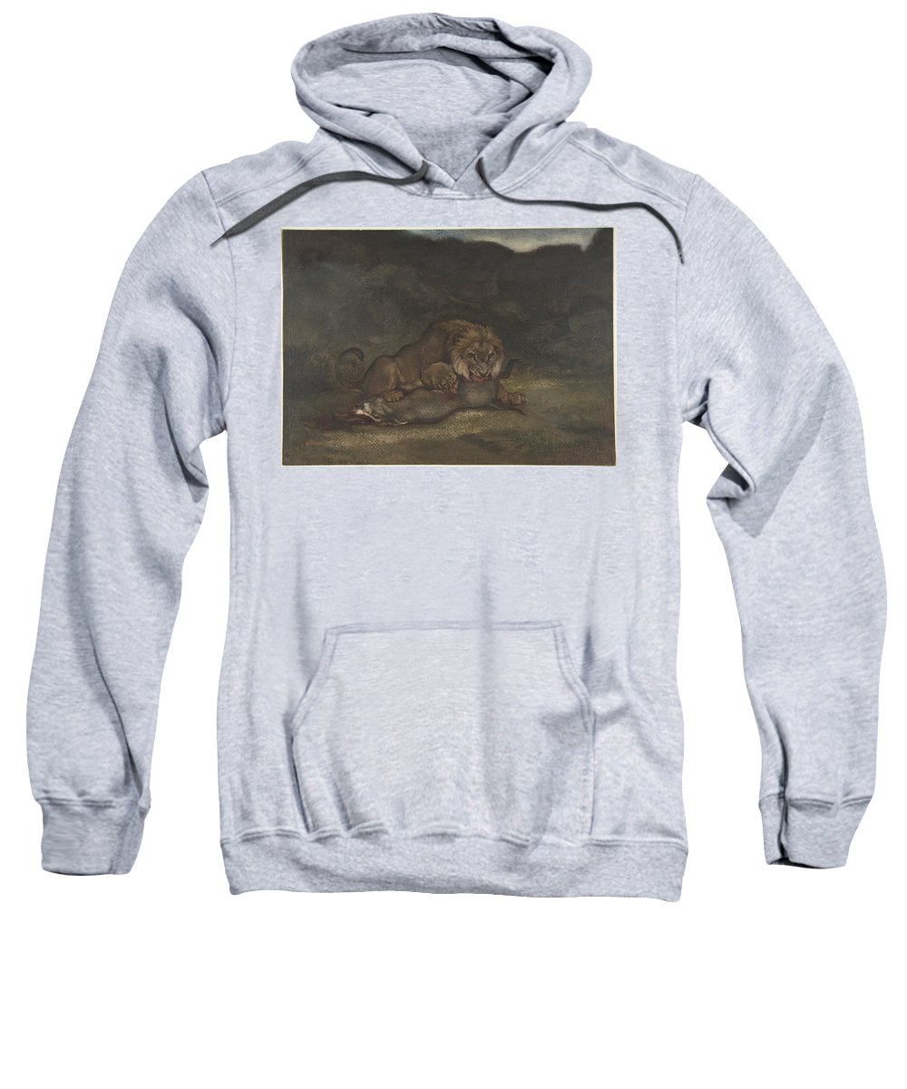 Lion Devouring Prey Artist Antoine-louis Barye (french Sweatshirt featuring the painting Lion Devouring Prey by MotionAge Designs