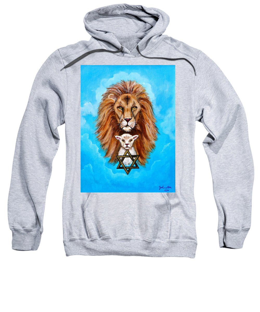 Adoni Sweatshirt featuring the painting Lion Lies Down With A Lamb by Bob and Nadine Johnston