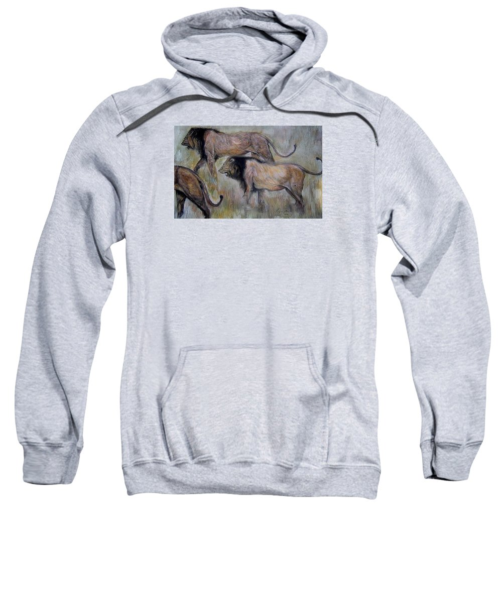 Nature; Lions; African Lion; Pastel; Visual Music Art;painting: African Wildlife Sweatshirt featuring the painting Lion On The Move by Arlene Rabinowitz