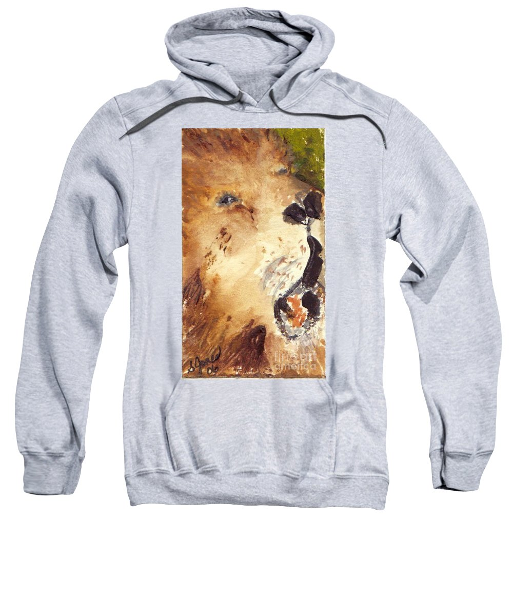 Cat Sweatshirt featuring the painting Lion by Shelley Jones