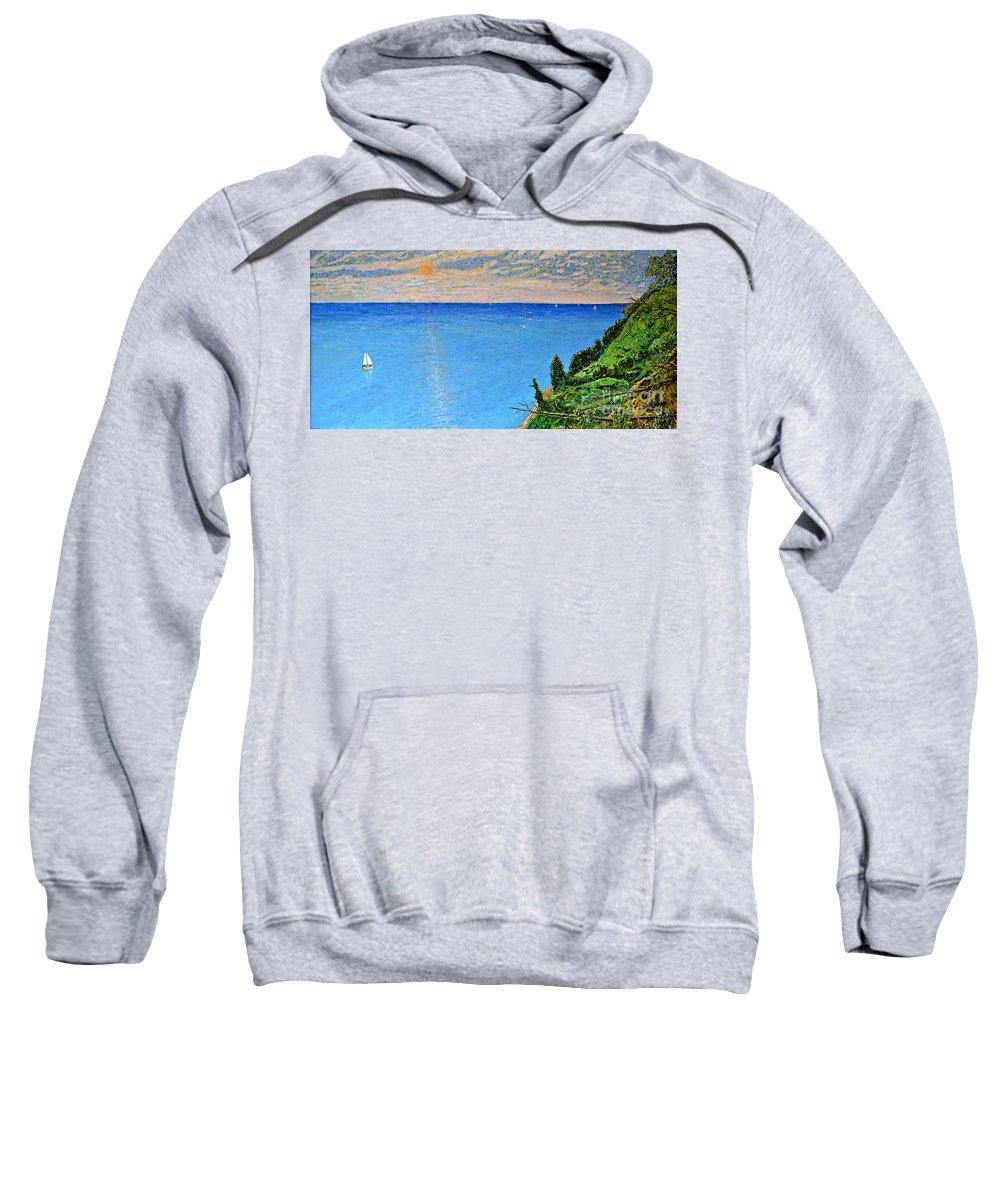 Wandell Sweatshirt featuring the painting Lions Den Lake Michigan by Richard Wandell