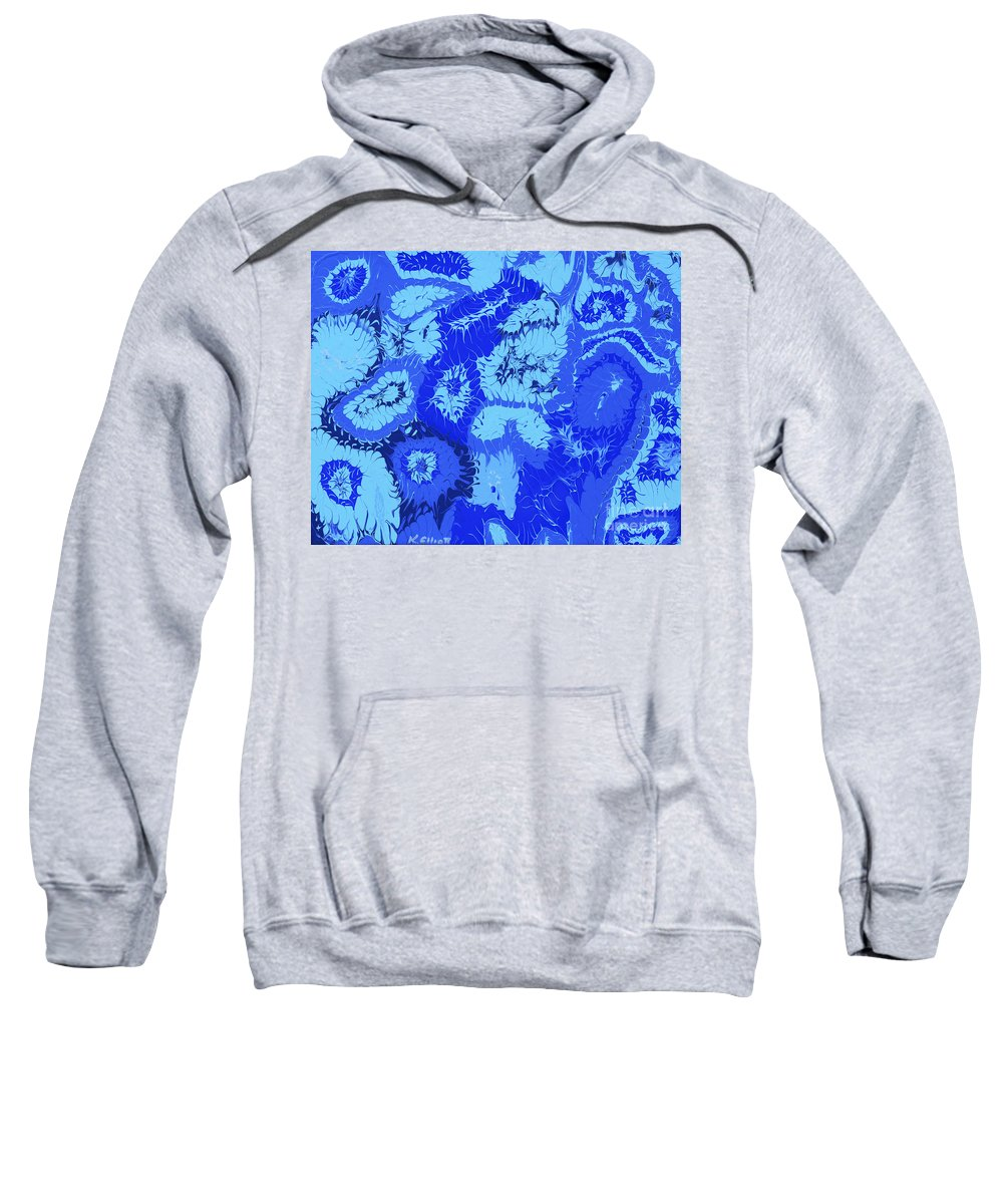 Keith Elliott Sweatshirt featuring the painting Liquid Blue Dream - V1cbs30 by Keith Elliott