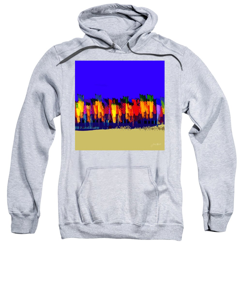 Tulip Sweatshirt featuring the painting Lisse - Tulips Blue On Brown by Joost Hogervorst