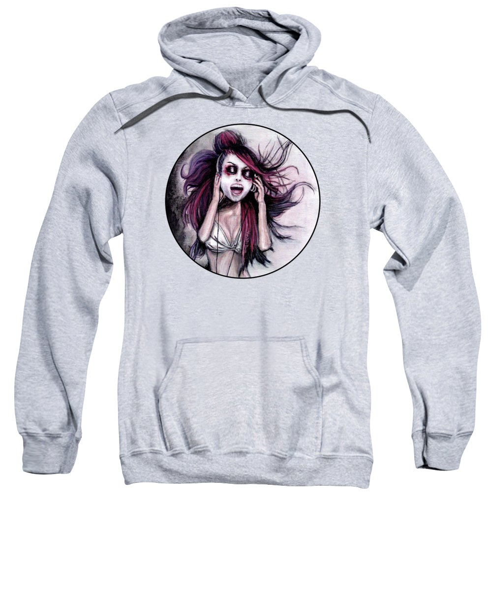 Music Sweatshirt featuring the painting Listen To Music by Rouble Rust