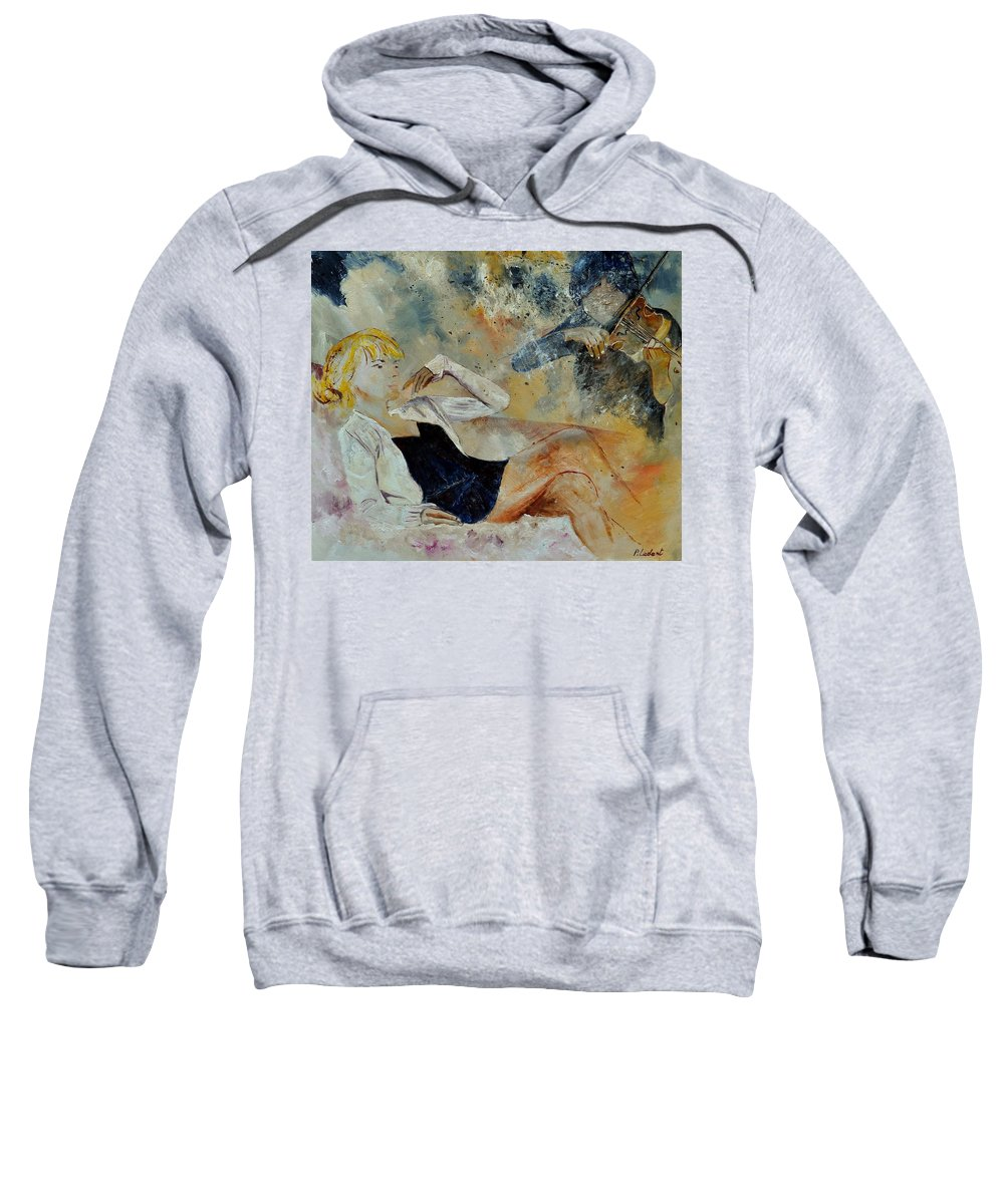 Misic Sweatshirt featuring the painting Listening To The Violin by Pol Ledent