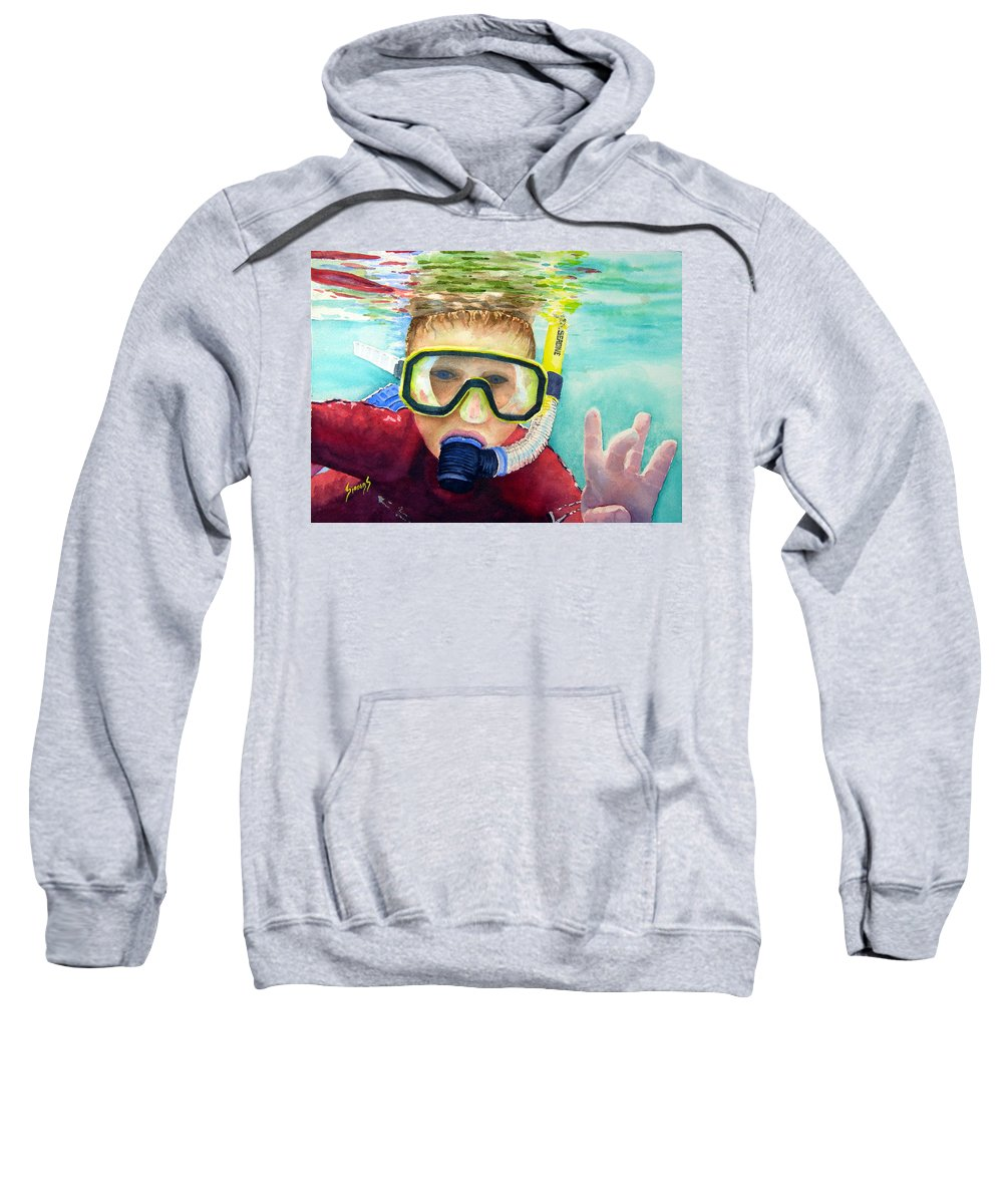 Diver Sweatshirt featuring the painting Little Diver by Sam Sidders