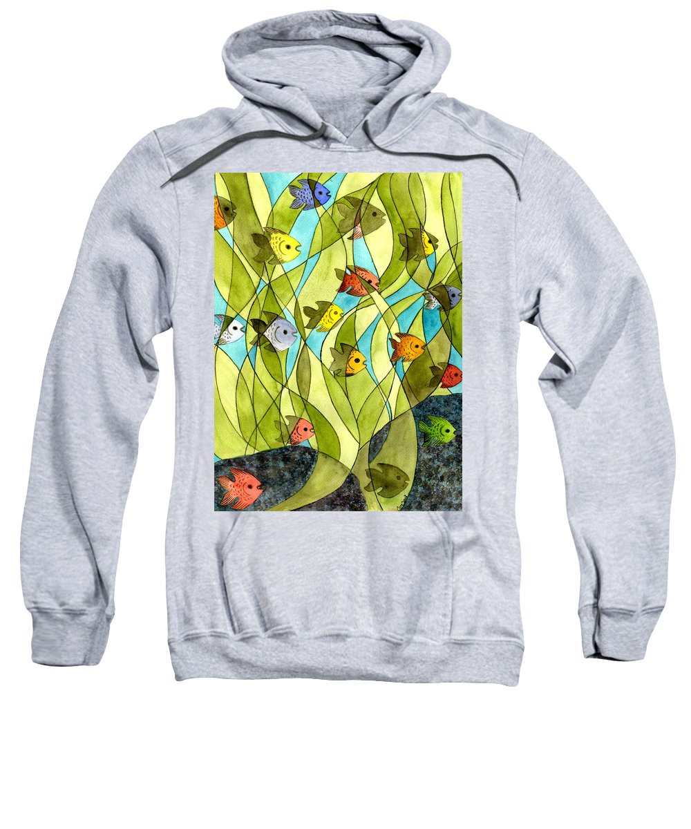 Fish Sweatshirt featuring the painting Little Fish Big Pond by Catherine G McElroy