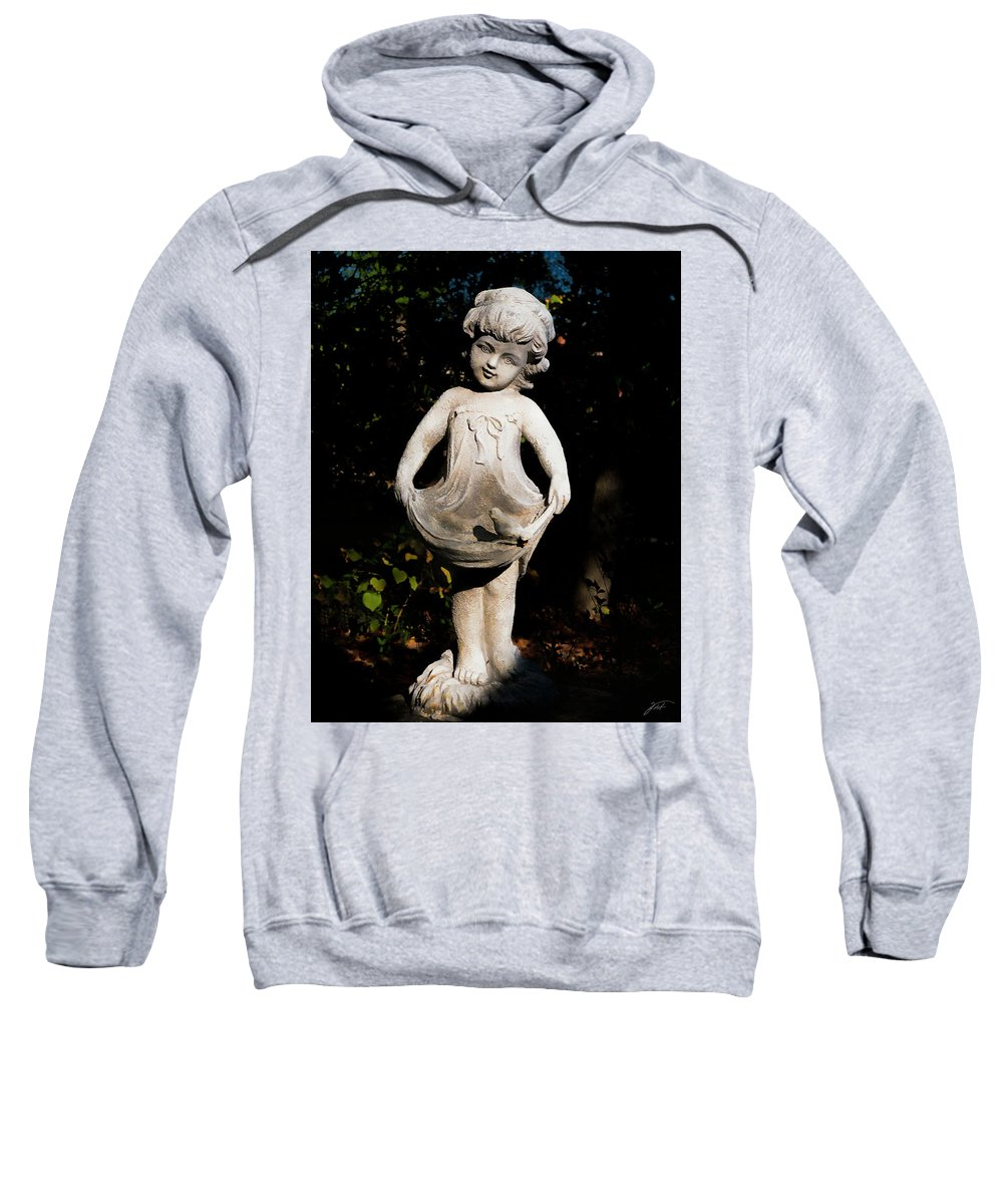 Object Sweatshirt featuring the photograph Little Girl With A Bird by Thomas Fields