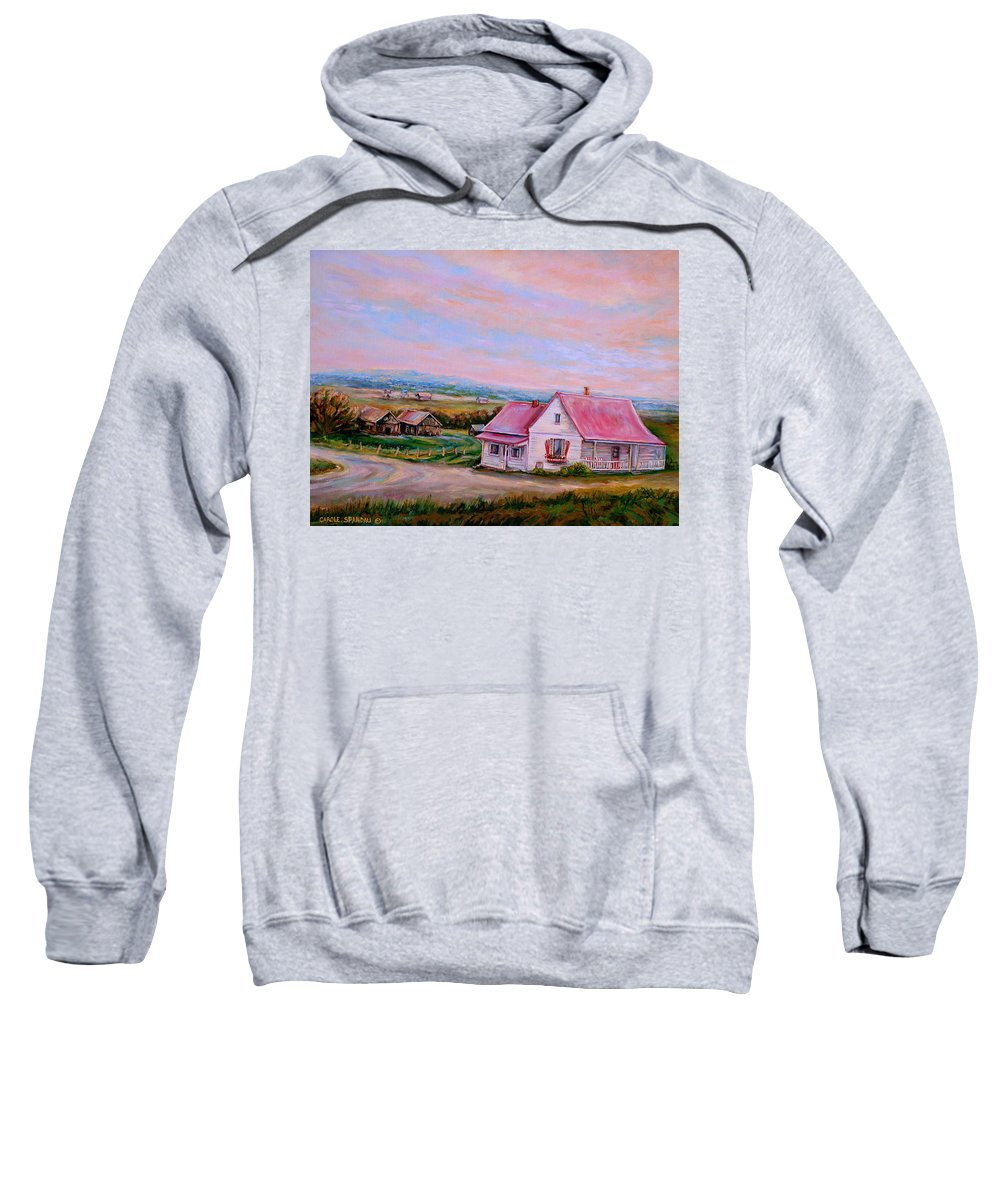 Little Pink Houses Sweatshirt featuring the painting Little Pink Houses by Carole Spandau