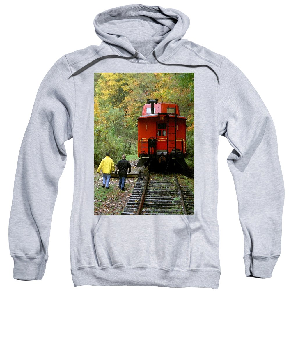 Train Sweatshirt featuring the photograph Little Red Caboose by Carolyn Jacob