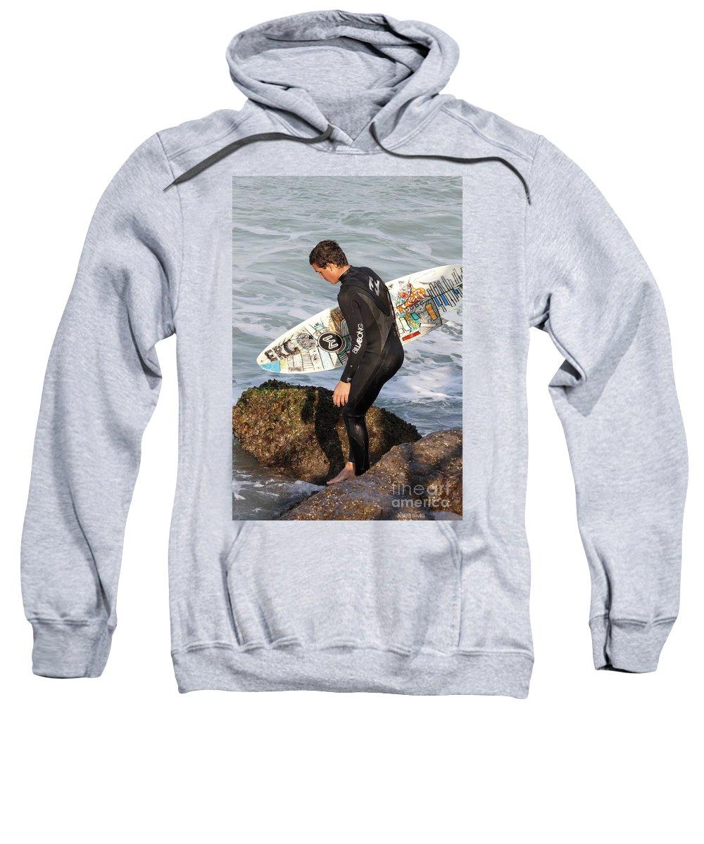 Surfer Sweatshirt featuring the photograph Little Surfer Dude by Deborah Benoit