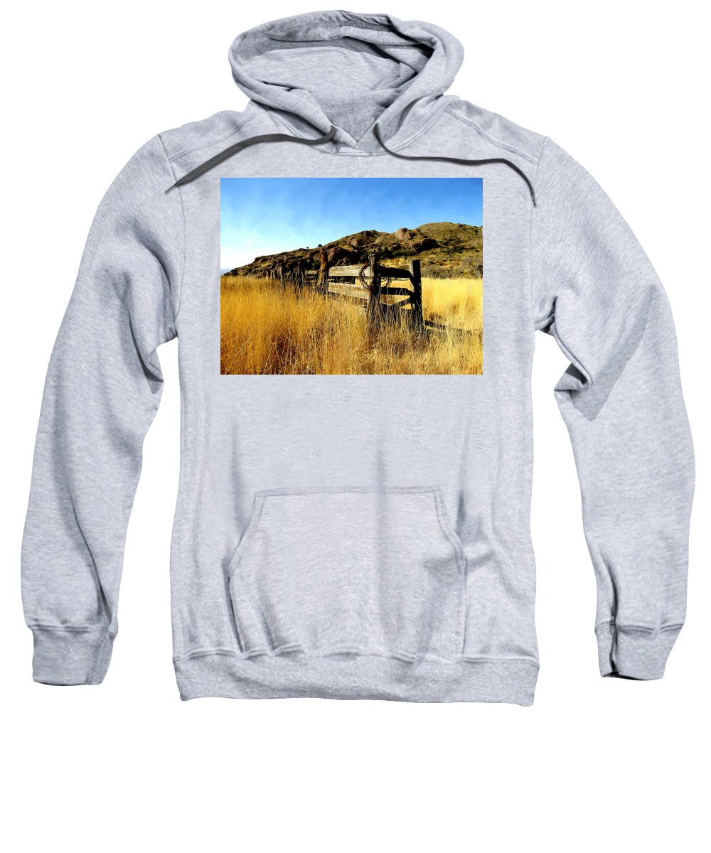 Southwestern Sweatshirt featuring the photograph Livery Fence At Dripping Springs by Kurt Van Wagner