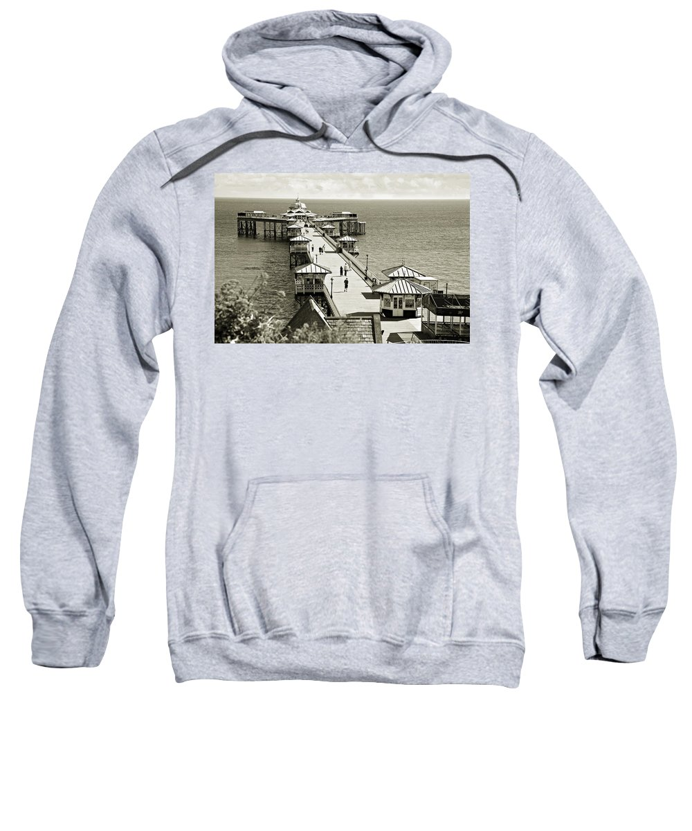 Pier Sweatshirt featuring the photograph Llandudno Pier North Wales Uk by Mal Bray