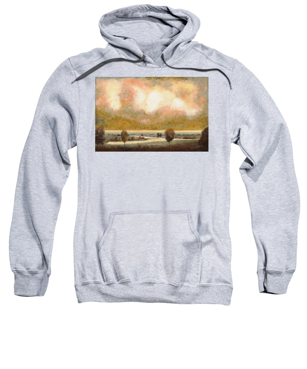 Pond Sweatshirt featuring the painting Lo Stagno Sotto Al Cielo by Guido Borelli