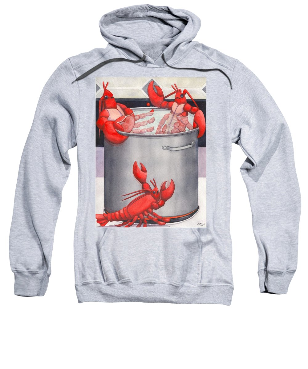 Lobsters Sweatshirt featuring the painting Lobster Spa by Catherine G McElroy