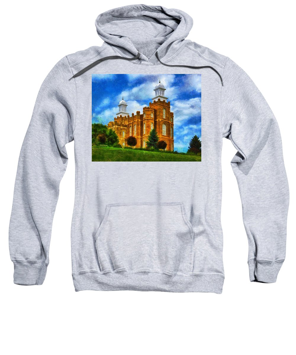 Temple Sweatshirt featuring the painting Logan Temple 2 by Greg Collins
