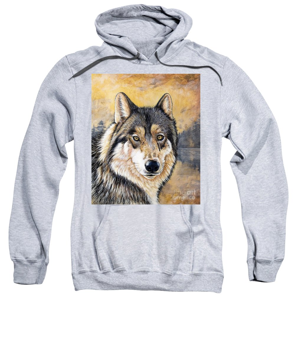 Acrylics Sweatshirt featuring the painting Loki by Sandi Baker