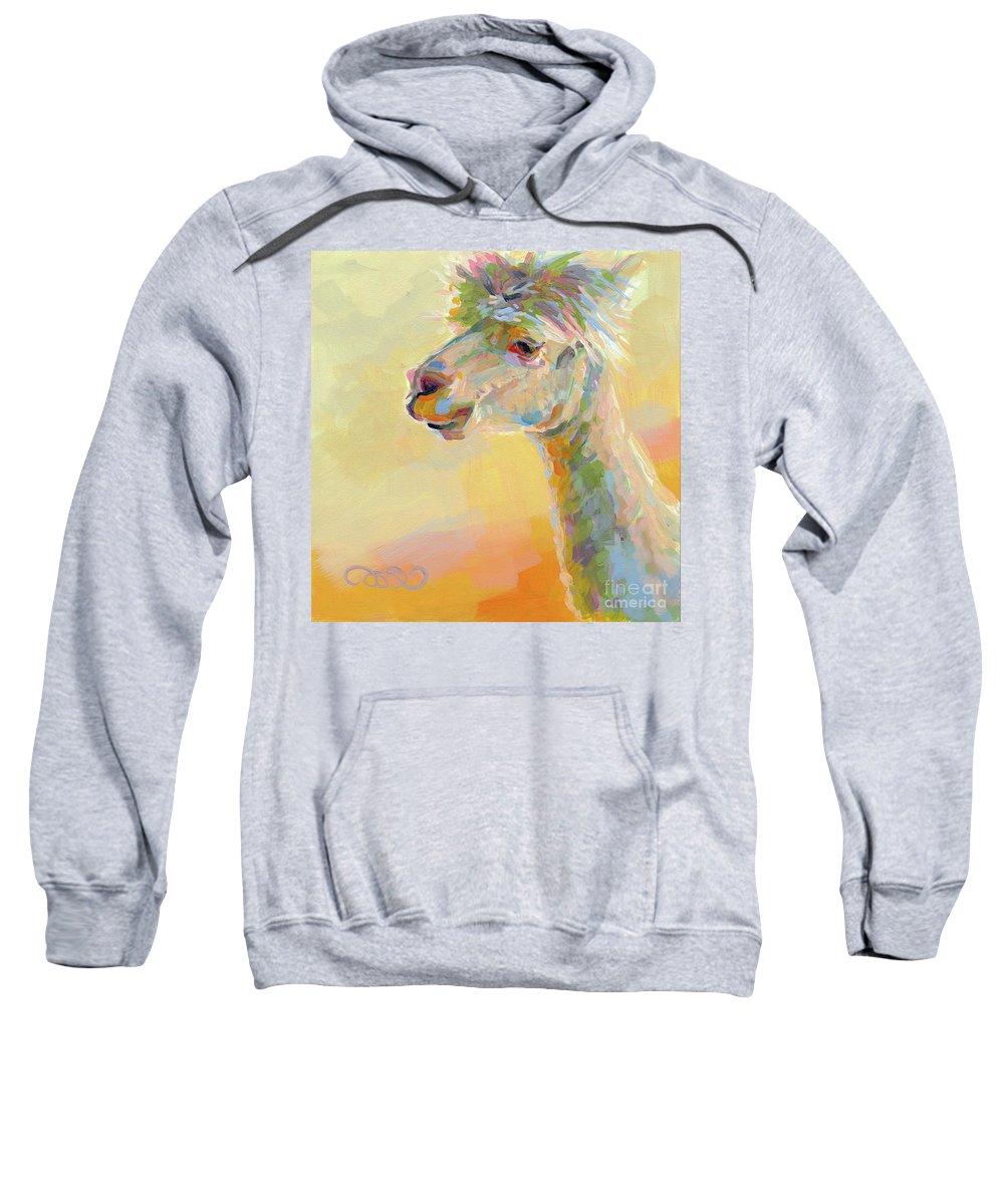Llama Sweatshirt featuring the painting Lolly Llama by Kimberly Santini