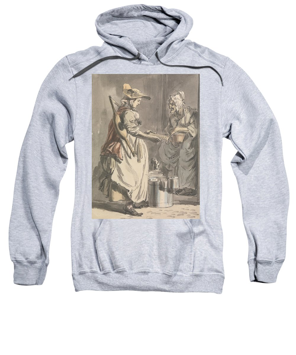 Paul Sandby Sweatshirt featuring the painting London Cries - A Milkmaid by Paul Sandby