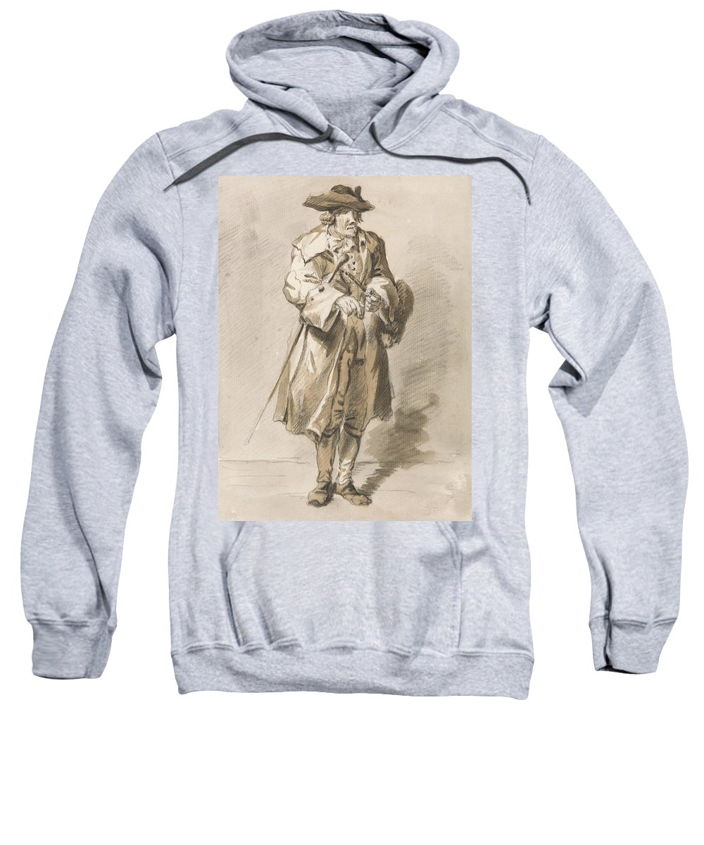 Paul Sandby Sweatshirt featuring the drawing London Cries - All Fire And No Smoke by Paul Sandby