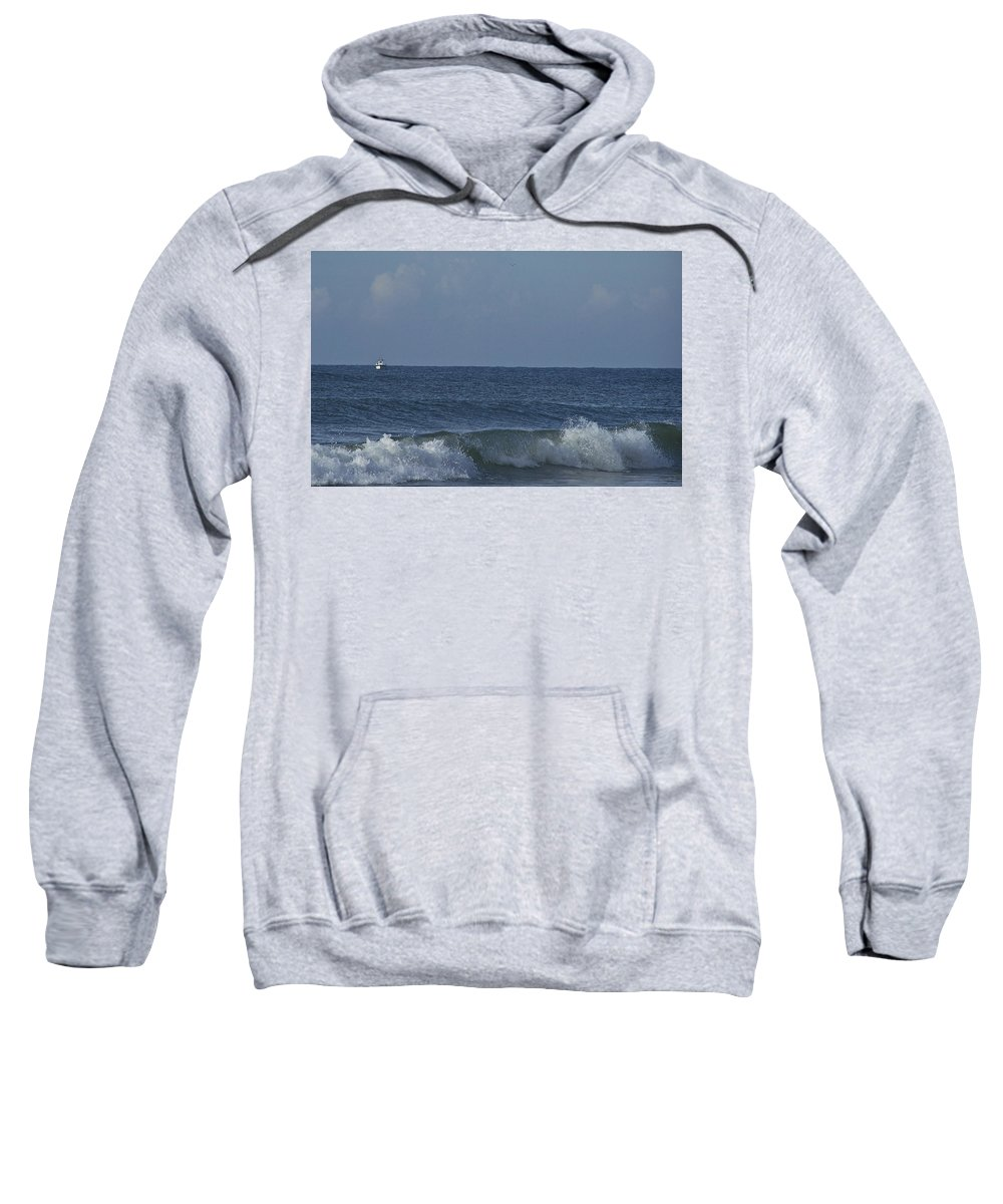 Boat Sweatshirt featuring the photograph Lone Boat On The Horizon by Teresa Mucha