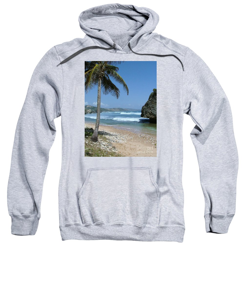 Carribean Sweatshirt featuring the photograph Lone Palm On Barbados Coast by Neil Zimmerman