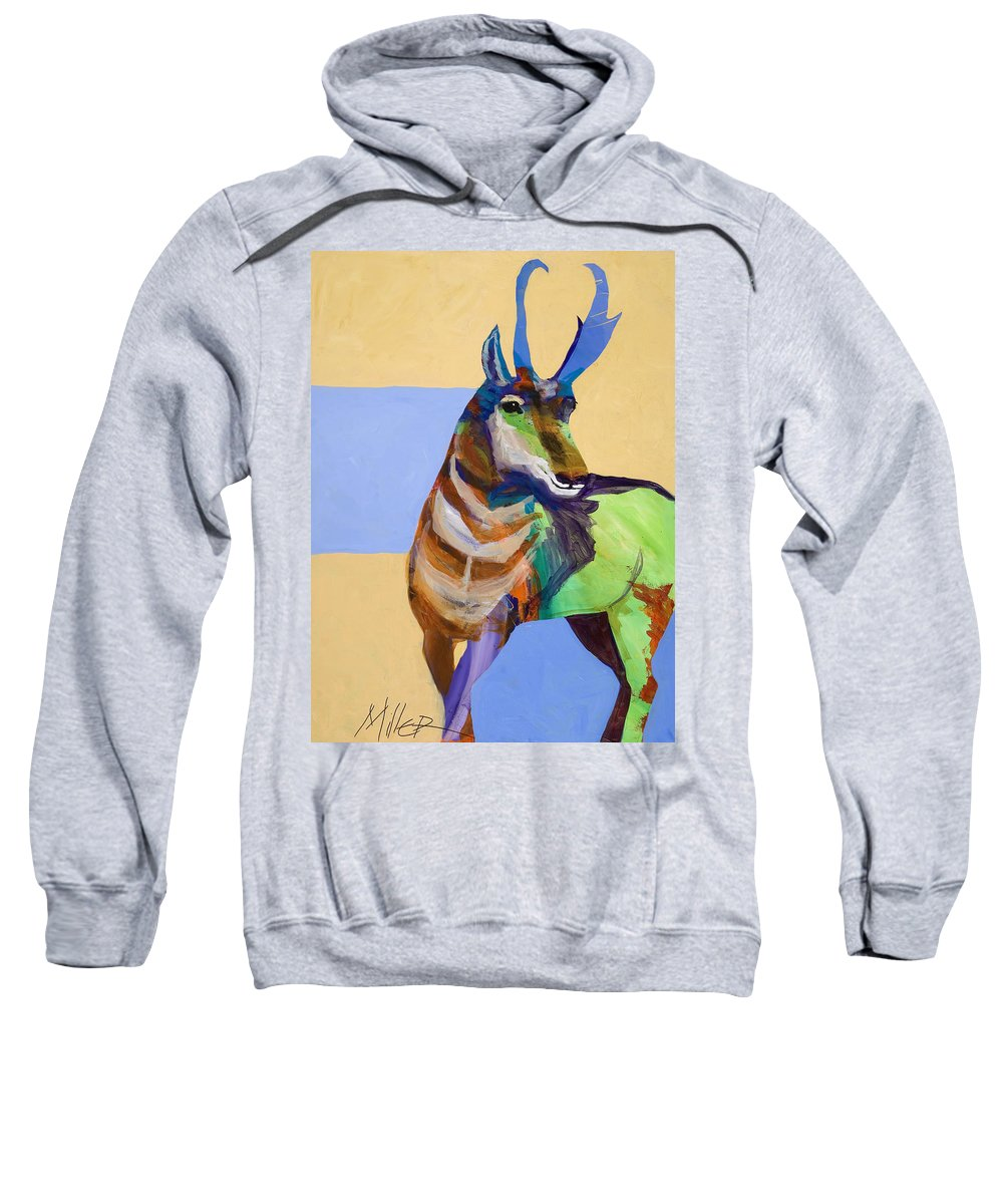Proghorn Sweatshirt featuring the painting Lone Pronghorn by Tracy Miller