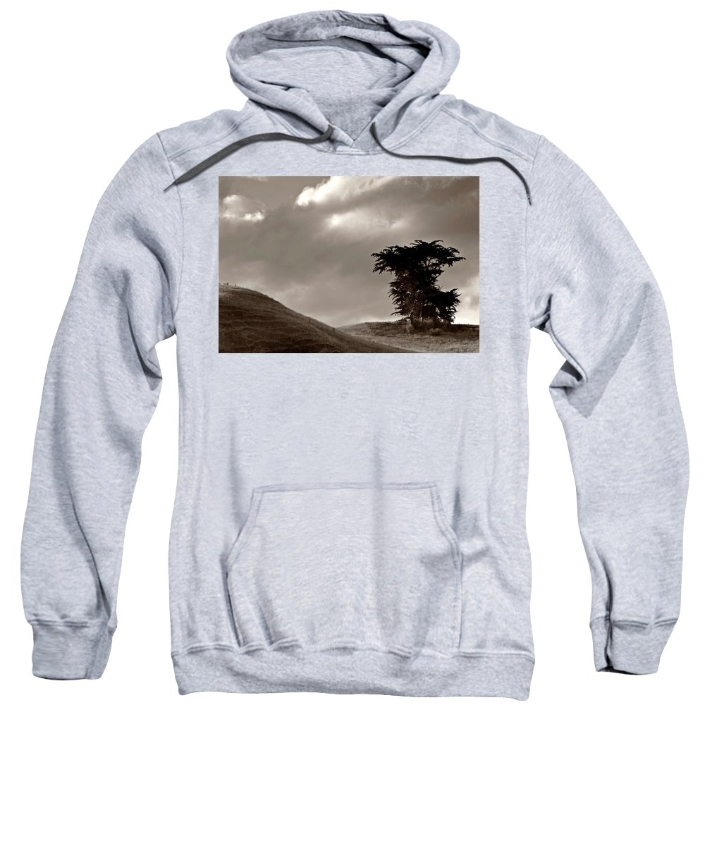Black And White Sweatshirt featuring the digital art Lone Tree On A New Zealand Hillside by Mark Duffy