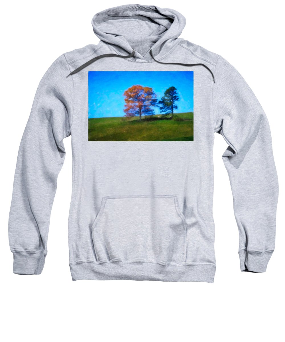 Fall Sweatshirt featuring the digital art Lone Trees Painting by Teresa Mucha